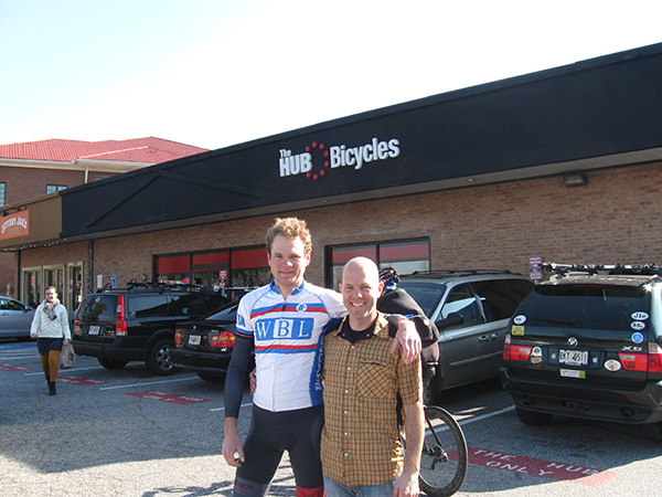 Clark and B Malloy, proprieter of the Hub.